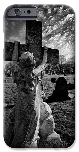 Grave Yard iPhone Cases - Girl Clings to Cross Allegheny Cemetery  iPhone Case by Amy Cicconi