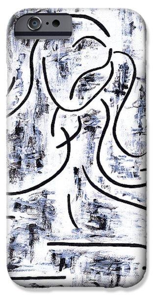 Gray Hair Paintings iPhone Cases - Girl Combing Her Hair iPhone Case by Kamil Swiatek