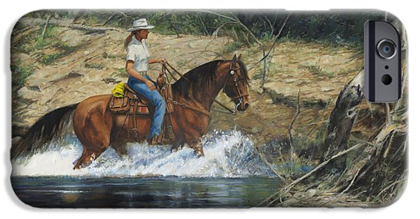 Horseback Riding iPhone Cases - Girl Crossing Big Creek iPhone Case by Don  Langeneckert