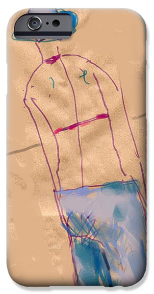 Contemplative Drawings iPhone Cases - Girl from the back iPhone Case by Margie Lee