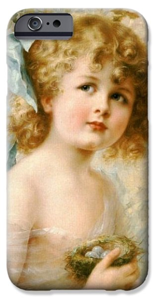 Young Digital Art iPhone Cases - Girl Holding A Nest iPhone Case by Emile Vernon
