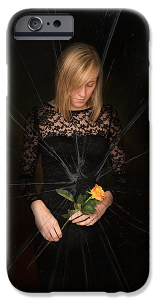 Sadness iPhone Cases - Girl Holding Rose iPhone Case by Amanda And Christopher Elwell