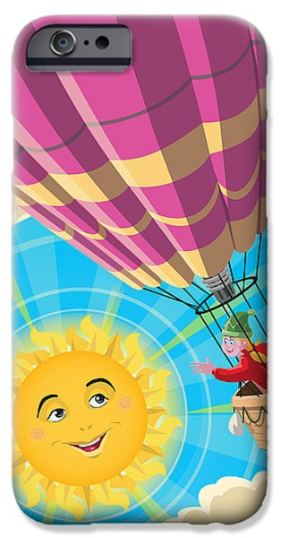 Girls In Pink iPhone Cases - Girl in a balloon greeting a happy sun iPhone Case by Martin Davey