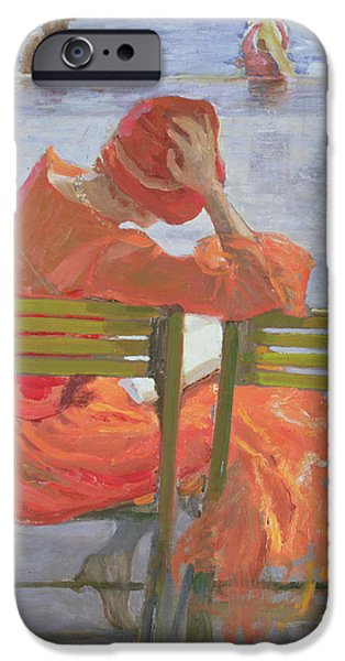 Bathing Paintings iPhone Cases - Girl in a red dress reading by a swimming pool iPhone Case by Sir John Lavery