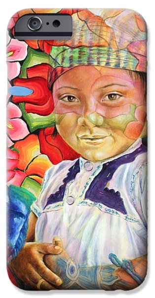 Beautiful Faces Paintings iPhone Cases - Girl in flowers iPhone Case by Karina Llergo Salto