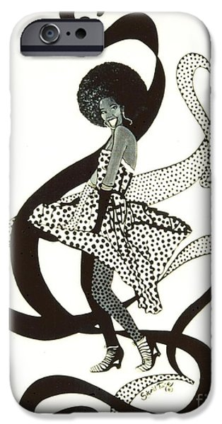 Girl in Polkadot Dress iPhone Case by Sigrid Tune