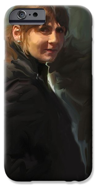 Figure iPhone Cases - Girl in the Black Coat iPhone Case by Curtis Chapline