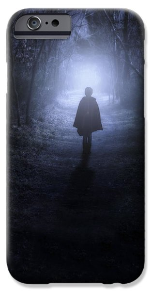 Creepy iPhone Cases - Girl In The Woods iPhone Case by Joana Kruse