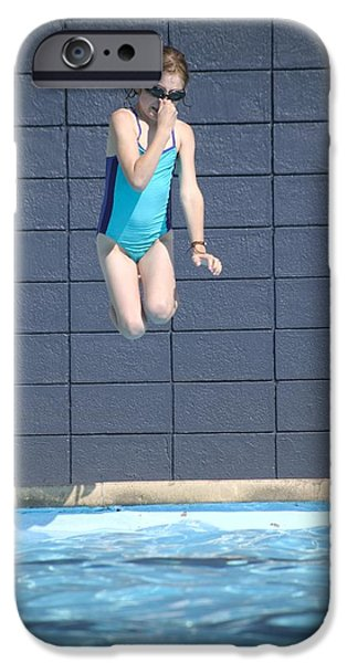 Bathing iPhone Cases - Girl Jumps Into The Pool iPhone Case by Kelly Redinger
