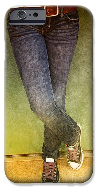 Girl Leaning Against Wall iPhone Case by Birgit Tyrrell