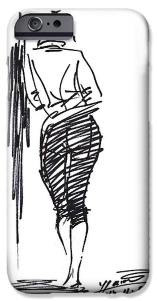 Pretty Drawings iPhone Cases - Girl Leaning Against Wall iPhone Case by Ylli Haruni