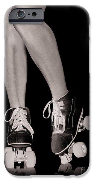 Roller Skates iPhone Cases - Girl legs in roller skates artistic concept iPhone Case by Oleksiy Maksymenko