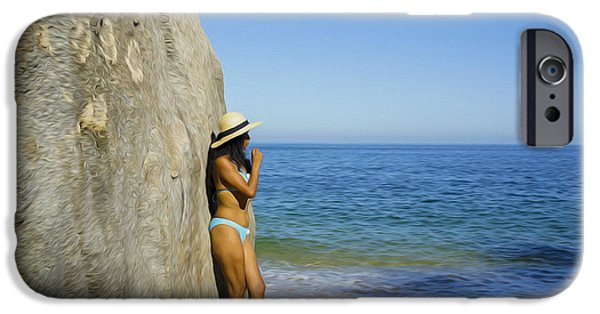 Pleasure Digital Art iPhone Cases - Girl looking at the ocean iPhone Case by Aged Pixel