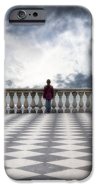 girl on a terrace iPhone Case by Joana Kruse