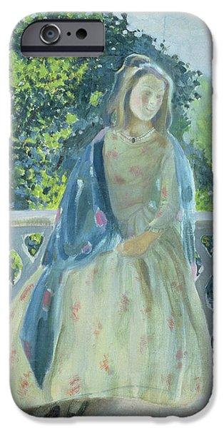 Contemplative Photographs iPhone Cases - Girl On Balcony, 1900 Oil On Canvas iPhone Case by Viktor Elpidiforovich Borisov-Musatov