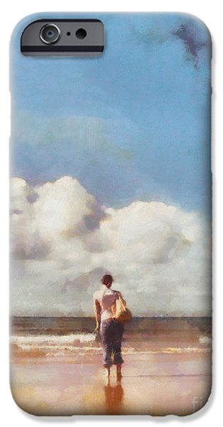 Girl on beach iPhone Case by Pixel Chimp