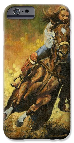 Barrel Paintings iPhone Cases - Girl Barrel Racing iPhone Case by Don  Langeneckert