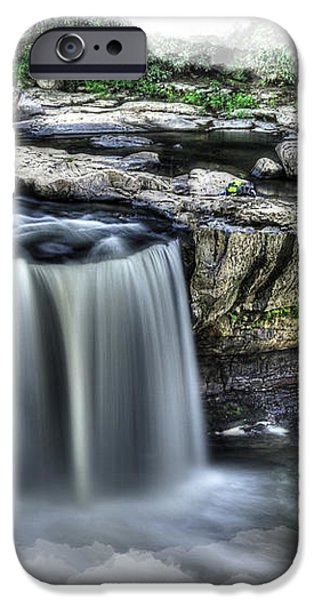 Girl on rock at falls iPhone Case by Dan Friend