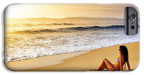 Attractive iPhone Cases - Girl on Seashore  iPhone Case by Carlos Caetano