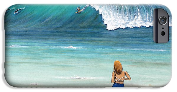 Malibu Paintings iPhone Cases - Girl on Surfer Beach iPhone Case by Jerome Stumphauzer