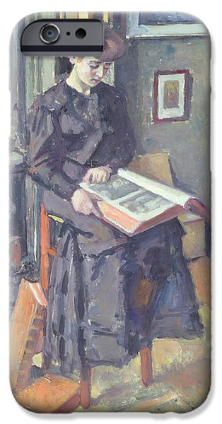 Stove iPhone Cases - Girl Reading a Book iPhone Case by Charles Francois Prosper Guerin
