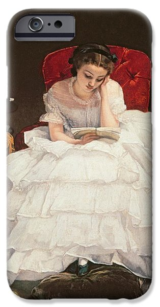 Pastimes iPhone Cases - Girl Reading iPhone Case by Alfred Emile Stevens