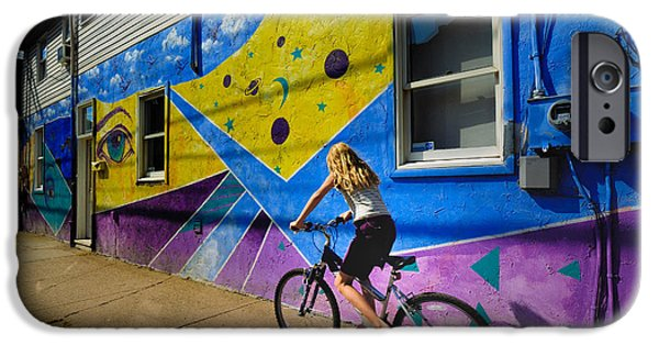 Paiting iPhone Cases - Girl Rides Bicycle Past Mural on the South Side of Pittsburgh iPhone Case by Amy Cicconi
