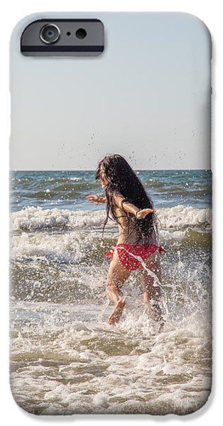 Surf Lifestyle Photographs iPhone Cases - Girl Running In Sea iPhone Case by Aleksey Tugolukov