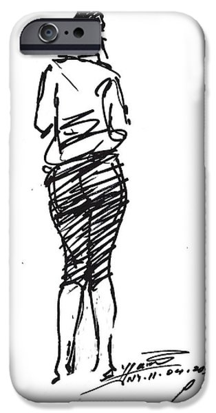 Pretty Drawings iPhone Cases - Girl Sketch iPhone Case by Ylli Haruni
