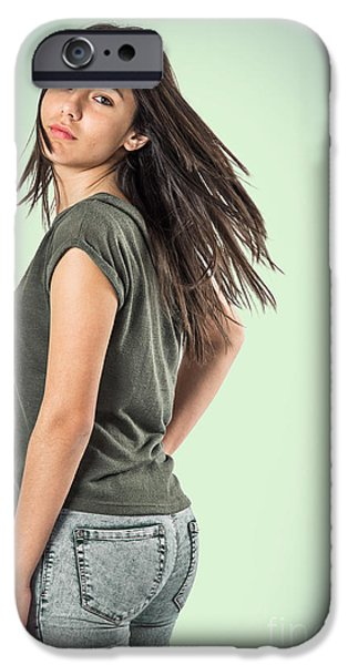 Attractive iPhone Cases - Girl Turning Head iPhone Case by Carlos Caetano
