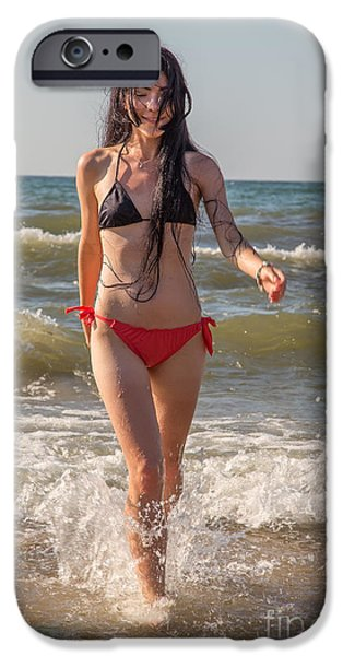 Surf Lifestyle Photographs iPhone Cases - Girl Walking In Sea Surf iPhone Case by Aleksey Tugolukov