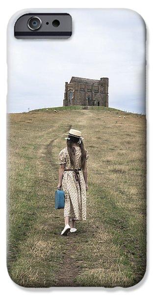 girl walks to a chapel iPhone Case by Joana Kruse