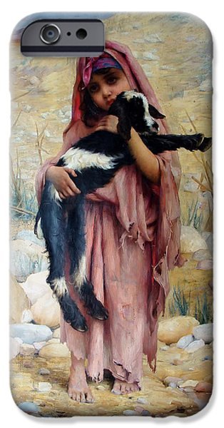 Concept Paintings iPhone Cases - Girl with a Goat iPhone Case by Gabriel Ferrier