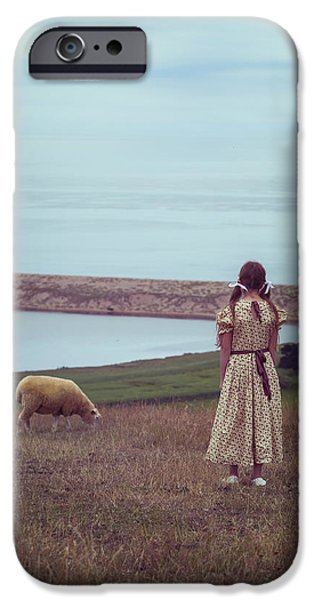girl with a sheep iPhone Case by Joana Kruse