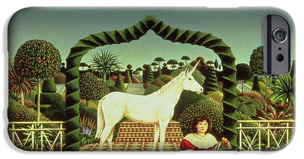Wild Animals Photographs iPhone Cases - Girl With A Unicorn, 1980 Acrylic On Board iPhone Case by Anthony Southcombe