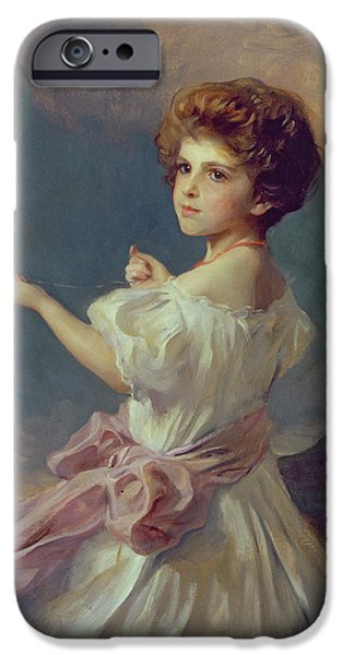 Young Paintings iPhone Cases - Girl with balloons  iPhone Case by Philip Alexius de Laszlo