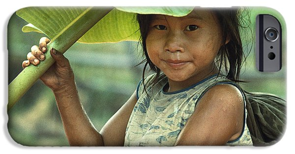 Rainy Day iPhone Cases - Girl With Banana Leaf Umbrella iPhone Case by Carl Purcell