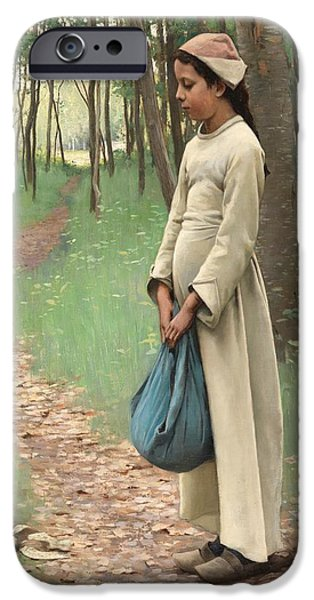 Nineteenth iPhone Cases - Girl with Bindle iPhone Case by Louis Welden Hawkins