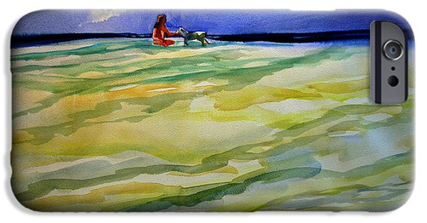 Dog In Landscape iPhone Cases - Girl with dog on the beach iPhone Case by Julianne Felton