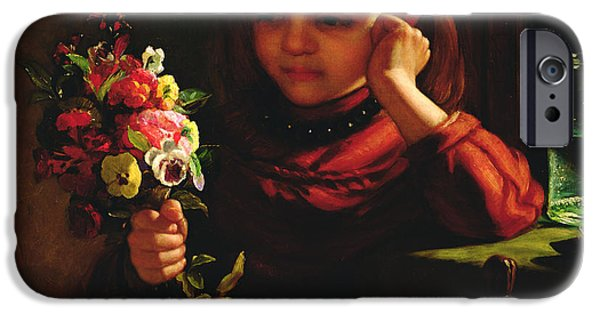 Contemplative iPhone Cases - Girl With Flowers iPhone Case by John Davidson