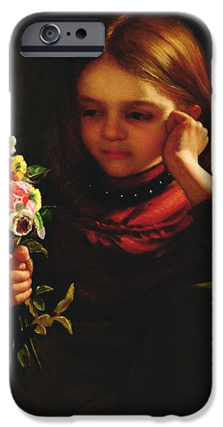 Girl With Flowers iPhone Case by John Davidson
