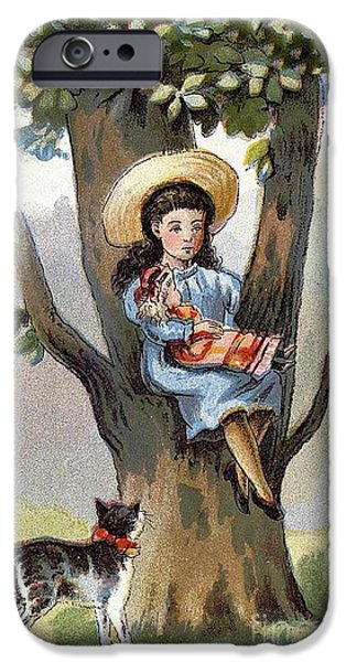 Alice In Wonderland iPhone Cases - Girl with her doll sitting in tree with cat looking up iPhone Case by Pierpont Bay Archives