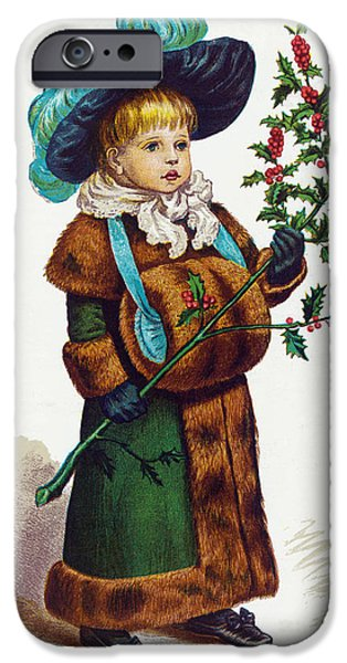 Feathered Hat iPhone Cases - Girl With Holly iPhone Case by Mary Evans