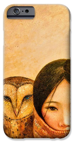 Young Paintings iPhone Cases - Girl with Owl iPhone Case by Shijun Munns