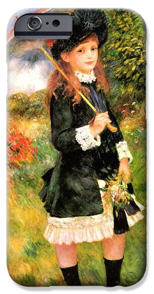 Little Girl iPhone Cases - Girl With Parasol iPhone Case by Pierre-Auguste Renoir