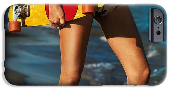 Skateboard iPhone Cases - Girl with skateboard on the beach iPhone Case by Oleksiy Maksymenko