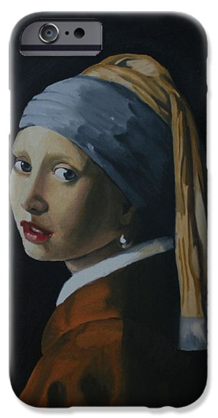 Lips iPhone Cases - Girl with the Pearl Earring Recreation iPhone Case by Jason Welter