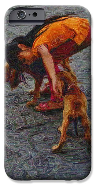 Pups Digital Art iPhone Cases - Girl with Two Dogs iPhone Case by Mary Machare