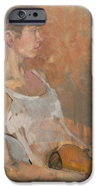 Sombre iPhone Cases - Girl With Violin, 2007 Oil On Canvas iPhone Case by Pat Maclaurin