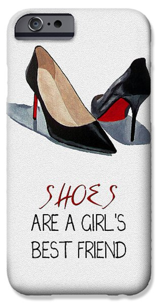 Black Shoes iPhone Cases - Girls Best Friend iPhone Case by Rebecca Jenkins